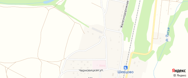 Черновицкая улица на карте деревни Шевцово Рязанской области с номерами домов