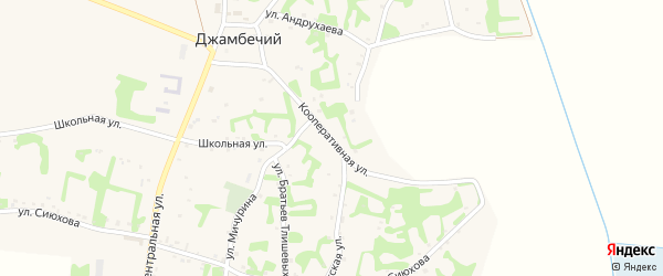 Кооперативная улица на карте аула Джамбичи Адыгеи с номерами домов