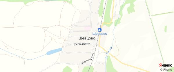 СНТ Тысья на карте деревни Шевцово Рязанской области с номерами домов