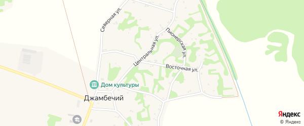 Восточная улица на карте аула Джамбичи Адыгеи с номерами домов