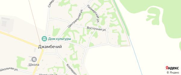 Пионерская улица на карте аула Джамбичи Адыгеи с номерами домов