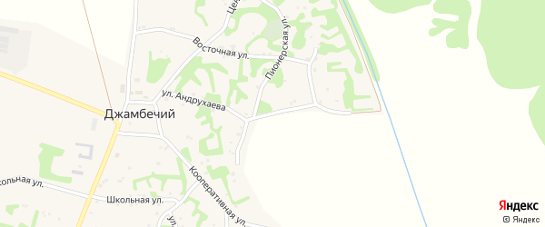 Улица Андрухаева на карте аула Джамбичи Адыгеи с номерами домов