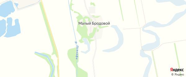 Карта Малого Бродового хутора в Краснодарском крае с улицами и номерами домов