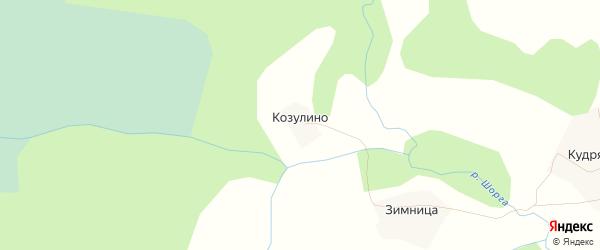 Карта деревни Козулино в Вологодской области с улицами и номерами домов
