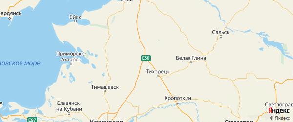 Карта Павловского района Краснодарского края с городами и населенными пунктами