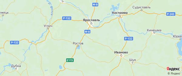 Карта Гаврилов-ямского района Ярославская области с городами и населенными пунктами