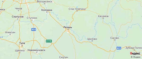 Карта Рязанского района Рязанской области с городами и населенными пунктами