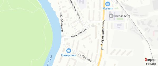 Прилуцкая улица на карте Вологды с номерами домов