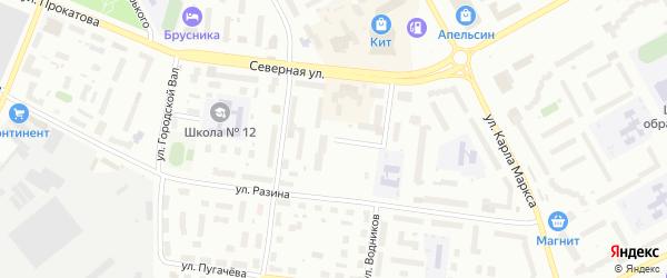 Переулок Водников на карте Вологды с номерами домов