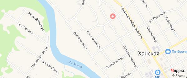 Ростовская улица на карте Ханской станицы с номерами домов