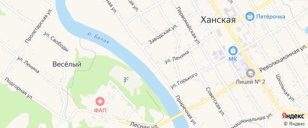Новая Приречная улица на карте Ханской станицы с номерами домов