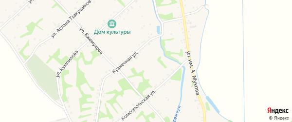 Комсомольский переулок на карте аула Уляпа Адыгеи с номерами домов