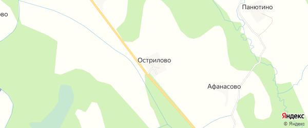 Карта деревни Острилово в Вологодской области с улицами и номерами домов