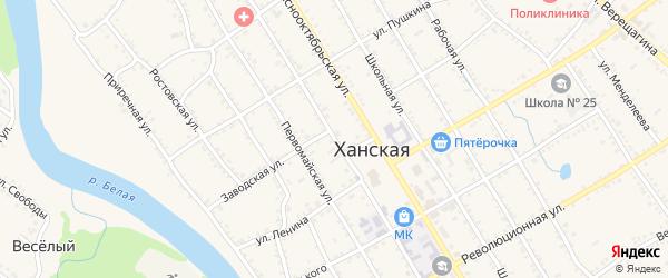 Улица Гастелло на карте Ханской станицы с номерами домов
