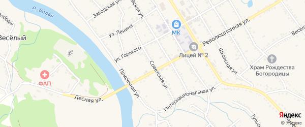 Советская улица на карте Ханской станицы с номерами домов