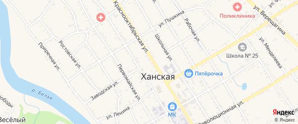 Заводская улица на карте Ханской станицы с номерами домов