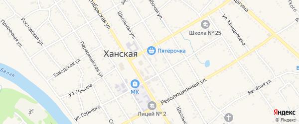 Школьная улица на карте Ханской станицы с номерами домов