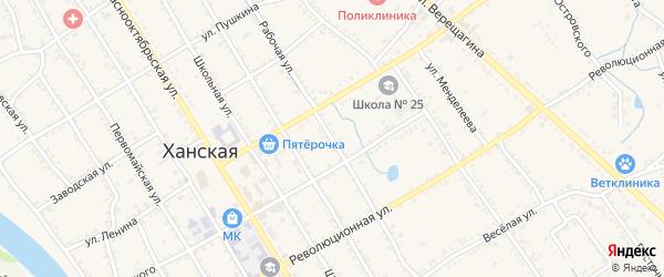 Рабочая улица на карте Ханской станицы с номерами домов