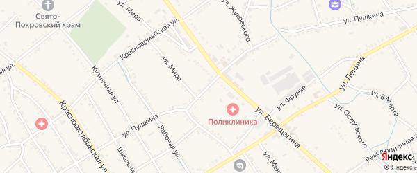 Улица Пушкина на карте Ханской станицы с номерами домов