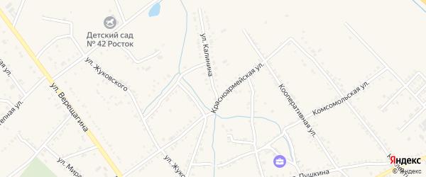 Улица Калинина на карте Ханской станицы с номерами домов