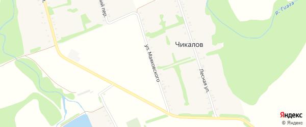 Улица Маяковского на карте хутора Чикалова Адыгеи с номерами домов