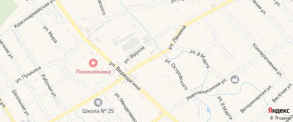 Улица Ленина на карте Ханской станицы с номерами домов