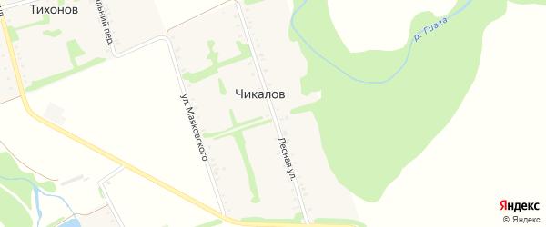Лесная улица на карте хутора Чикалова Адыгеи с номерами домов