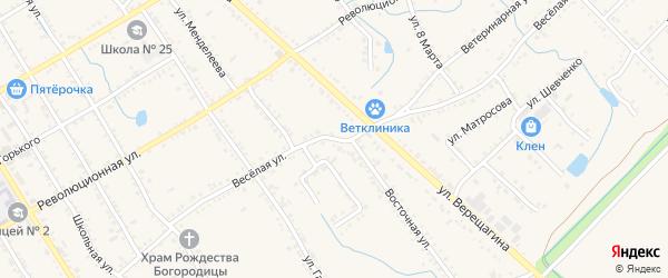Веселая улица на карте Ханской станицы с номерами домов