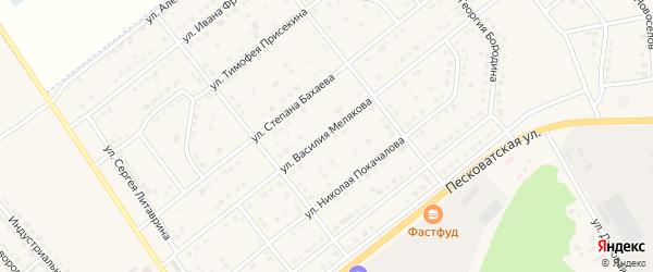 Улица Василия Мелякова на карте Грязей с номерами домов