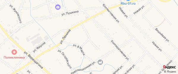 Улица 19 Февраля на карте Ханской станицы с номерами домов