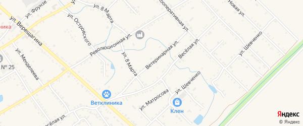 Ветеринарная улица на карте Ханской станицы с номерами домов