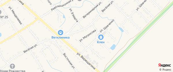 Улица Матросова на карте Ханской станицы с номерами домов