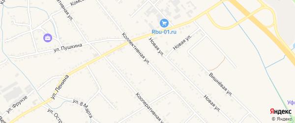 Новая Коллективная улица на карте Ханской станицы с номерами домов