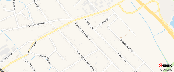 Коллективная улица на карте Ханской станицы с номерами домов