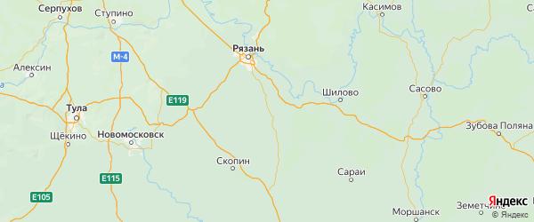 Карта Старожиловского района Рязанской области с городами и населенными пунктами