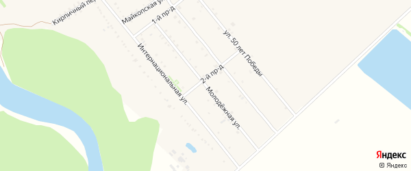 Молодежная улица на карте Ханской станицы с номерами домов