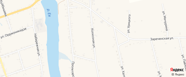 Колхозная улица на карте Крыловской станицы Краснодарского края с номерами домов