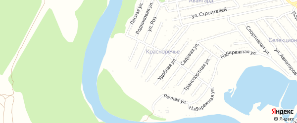 Надежная улица на карте Красноречия с номерами домов