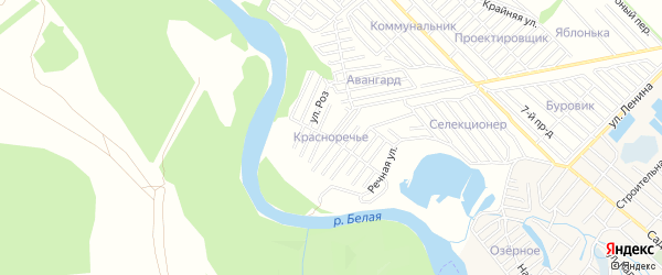Карта садового некоммерческого товарищества Красноречья города Майкопа в Адыгее с улицами и номерами домов