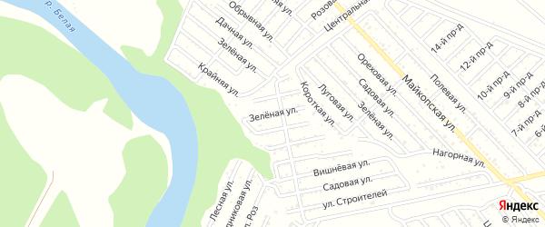 Зеленая улица на карте Сада с номерами домов