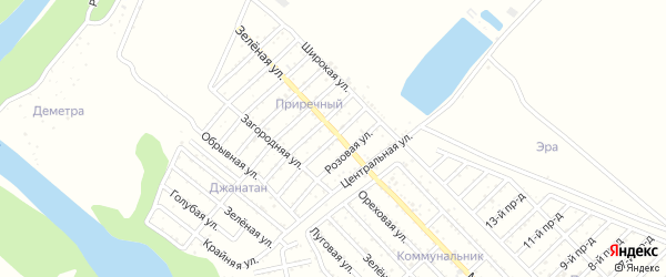 Клубничная улица на карте садового некоммерческого товарищества Приречного с номерами домов
