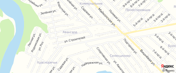 Улица Строителей на карте Авангарда с номерами домов