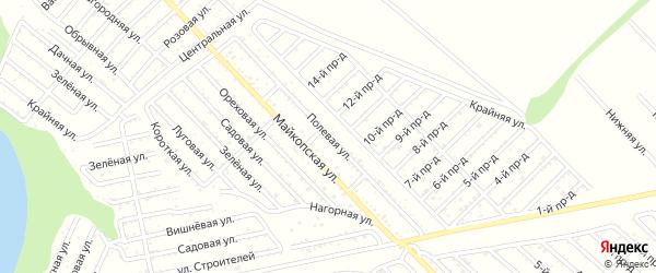 Полевая улица на карте Коммунальника с номерами домов