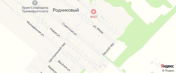 Лесной переулок на карте Родникового поселка с номерами домов