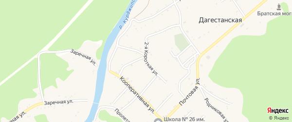 Короткая 1-я улица на карте Дагестанской станицы Адыгеи с номерами домов