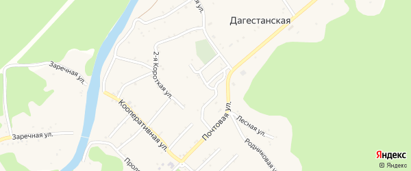 Зеленая улица на карте Дагестанской станицы Адыгеи с номерами домов