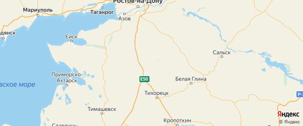 Карта Крыловского района Краснодарского края с городами и населенными пунктами