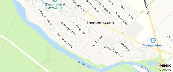 Карта Гавердовского хутора города Майкопа в Адыгее с улицами и номерами домов