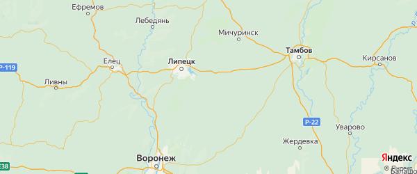 Карта Грязинского района Липецкой области с городами и населенными пунктами
