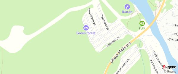 Земляничная улица на карте садового некоммерческого товарищества Заречного-2 Адыгеи с номерами домов